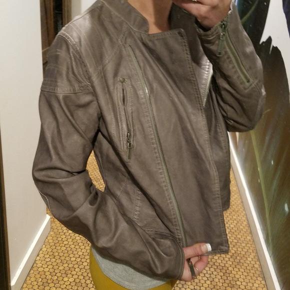 Jou Jou Womens Asymmetrical Faux Leather Jacket